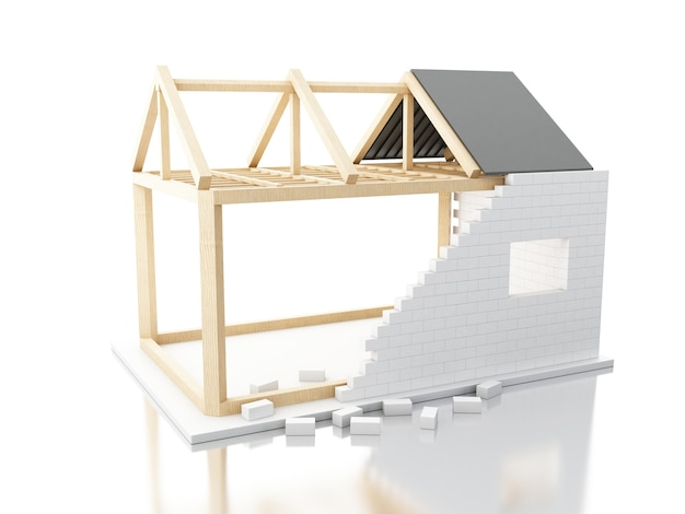 3d house under construction with builders