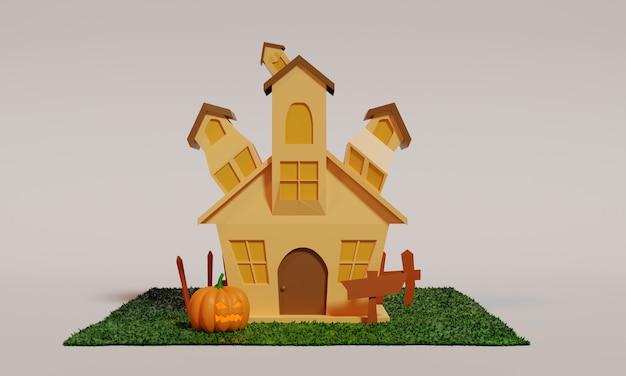 3d дизайн иллюстрации дома для сезона хэллоуина