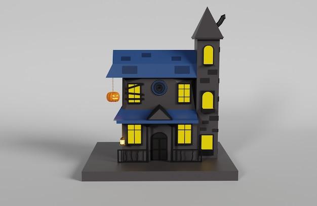 3d house illustration design for halloween season