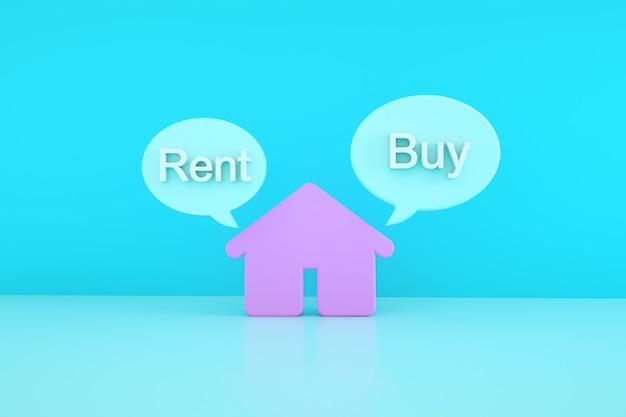 青い背景の上の3d家、コンセプトの購入または賃貸、3dレンダリング
