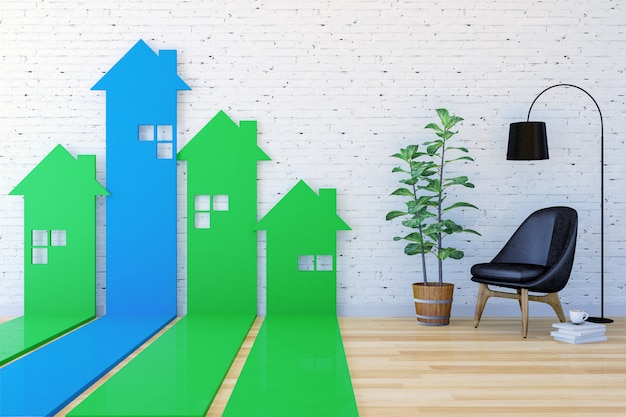 3d house-shaped arrow bar graph go upward in living room indexing real estate demand