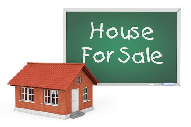 3d дом с домом для продажи знак доске на белом фоне