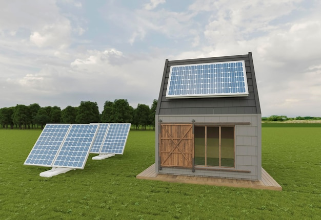 3d house with solar pannels