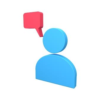 3d человеческий аватар значок с речевым пузырем. 3d-рендеринг человеческого аватара с речевым пузырем.