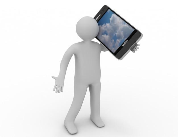 3d человеческий персонаж, держащий смартфон