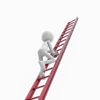 3d человек с красной лестницей. 3d-рендеринг изображения