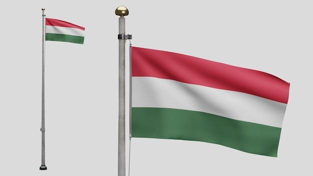 3d、風に手を振るハンガリーの旗。ハンガリーのバナーを吹く、柔らかく滑らかなシルクのクローズアップ。布生地のテクスチャは、背景をエンサインします。建国記念日や国の行事のコンセプトに使用してください。