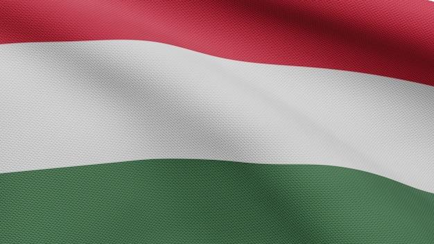 3d、風に手を振るハンガリーの旗。ハンガリーのバナーを吹く、柔らかく滑らかなシルクのクローズアップ。布生地のテクスチャは、背景をエンサインします。