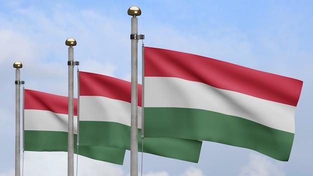 3d、青い空と雲と風に手を振るハンガリーの旗。ハンガリーのバナーを吹く、柔らかく滑らかなシルクのクローズアップ。布生地のテクスチャは、背景をエンサインします。