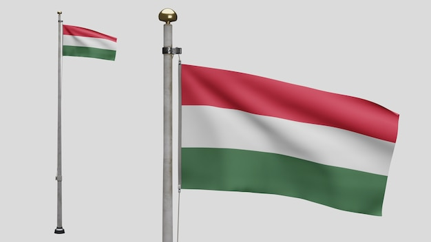 3d, hungarian flag waving on wind. close up of hungary banner blowing, soft and smooth silk. cloth fabric texture ensign background. use it for national day and country occasions concept.