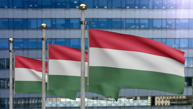 3d, hungarian flag waving on wind with modern skyscraper city. hungary banner blowing smooth silk. cloth fabric texture ensign background. use it for national day and country occasions concept.