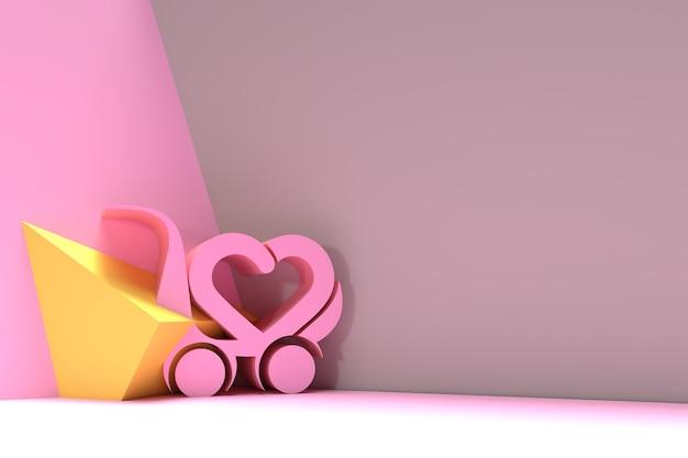 3d i love shopping with shopping cart like heart, 3d render flyer poster illustration design.