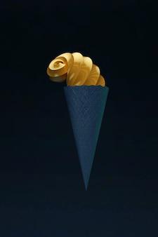 3d 아이스크림 개체에는 휘핑된 나선형 끝과 파란색 와플이 짙은 검정색으로 분리된 배경에 있습니다. 3d 그래픽, 어두운 배경에 아이스크림 그림. 확대