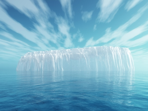 3d iceberg in blue sea