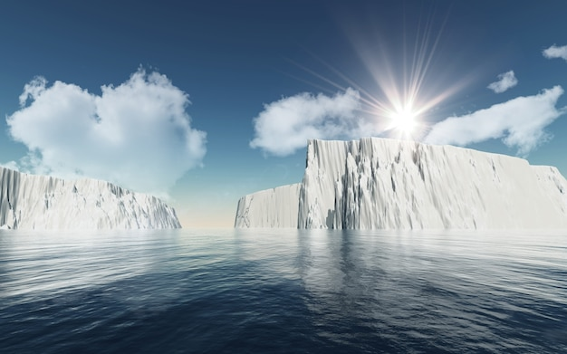 3d icebergs against blue sky with fluffy white clouds