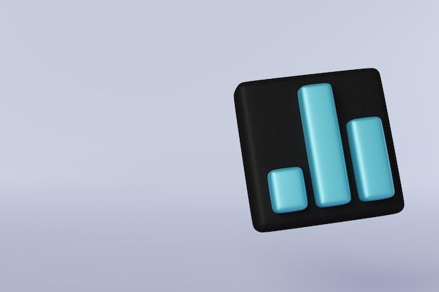 검은 배경에 3d 아이콘 파란색 막대 그래프