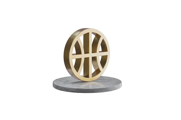 Значок 3d на изолированной белой поверхности. блестящий золотой значок на мраморном цилиндре. 3d визуализация современного баскетбола иконы
