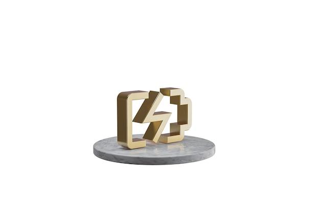 Значок 3d на изолированной белой поверхности. блестящий золотой значок на мраморном цилиндре. 3d визуализация современной значок батареи