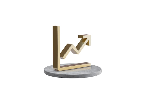 Значок 3d на изолированной белой поверхности. блестящий золотой значок на мраморном цилиндре. 3d визуализация современной иконы - диаграммы