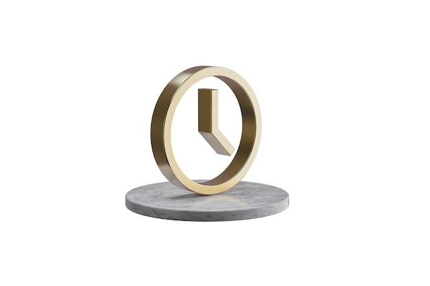Значок 3d на изолированной белой поверхности. блестящий золотой значок на мраморном цилиндре. 3d визуализация современных значок часов