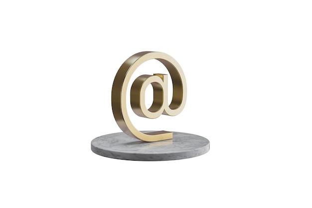 Значок 3d на изолированной белой поверхности. блестящий золотой значок на мраморном цилиндре. 3d визуализация современного значка электронной почты