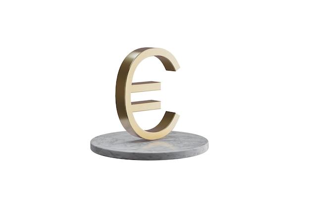 Значок 3d на изолированной белой поверхности. блестящий золотой значок на мраморном цилиндре. 3d визуализация современной иконы евро