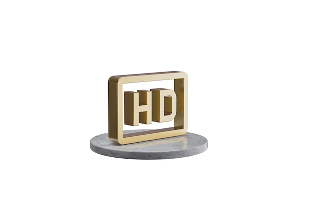 Значок 3d на изолированной белой поверхности. блестящий золотой значок на мраморном цилиндре. 3d визуализация современной иконы hd