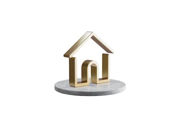 Значок 3d на изолированной белой поверхности. блестящий золотой значок на мраморном цилиндре. 3d визуализация современного дома значок
