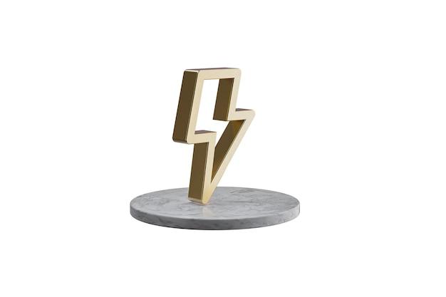 Значок 3d на изолированной белой поверхности. блестящий золотой значок на мраморном цилиндре. 3d визуализация современной иконы молнии