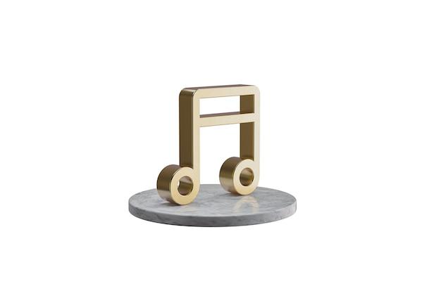 Значок 3d на изолированной белой поверхности. блестящий золотой значок на мраморном цилиндре. 3d визуализация современной значок музыки