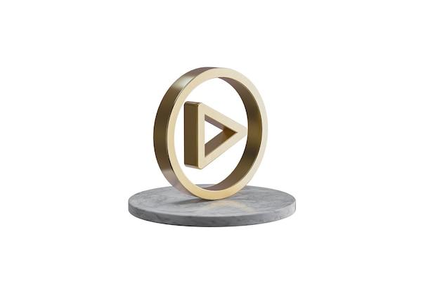 Значок 3d на изолированной белой поверхности. блестящий золотой значок на мраморном цилиндре. 3d визуализация современной игры иконок