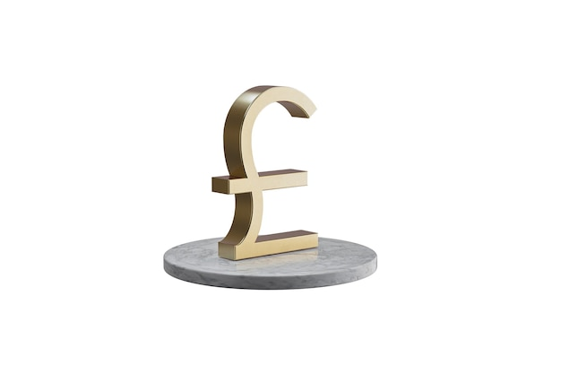 Значок 3d на изолированной белой поверхности. блестящий золотой значок на мраморном цилиндре. 3d визуализация современной валюты фунт значок