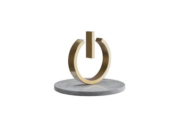 Значок 3d на изолированной белой поверхности. блестящий золотой значок на мраморном цилиндре. 3d визуализация современной власти иконы