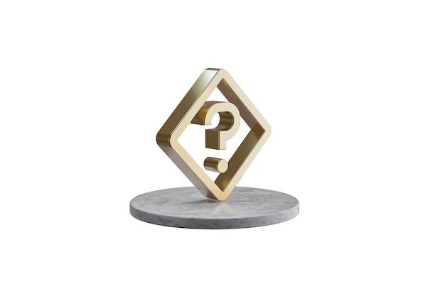 Значок 3d на изолированной белой поверхности. блестящий золотой значок на мраморном цилиндре. 3d визуализация современного знака вопроса