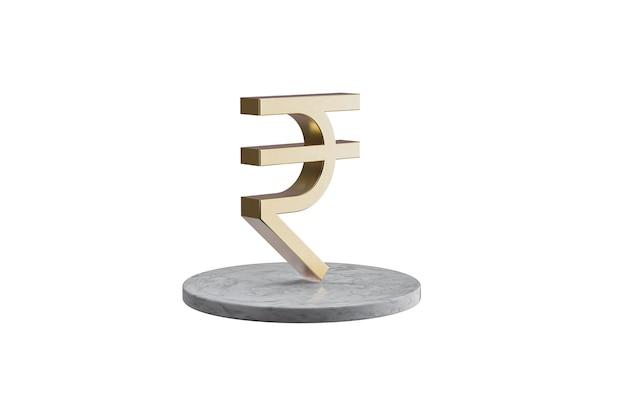 Значок 3d на изолированной белой поверхности. блестящий золотой значок на мраморном цилиндре. 3d визуализация современной рупии значок валюты