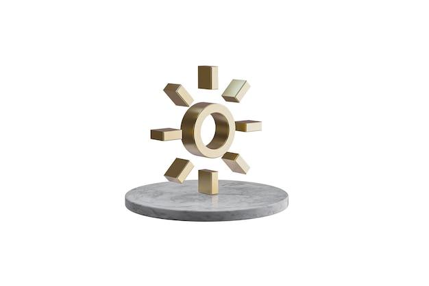 Значок 3d на изолированной белой поверхности. блестящий золотой значок на мраморном цилиндре. 3d визуализация современной иконы солнца