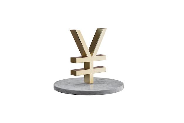 Значок 3d на изолированной белой поверхности. блестящий золотой значок на мраморном цилиндре. 3d визуализация современной иконы йены валюты