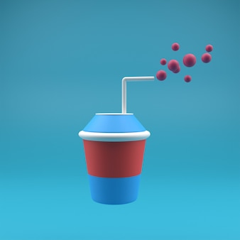 3d icons drink with straw and blue background