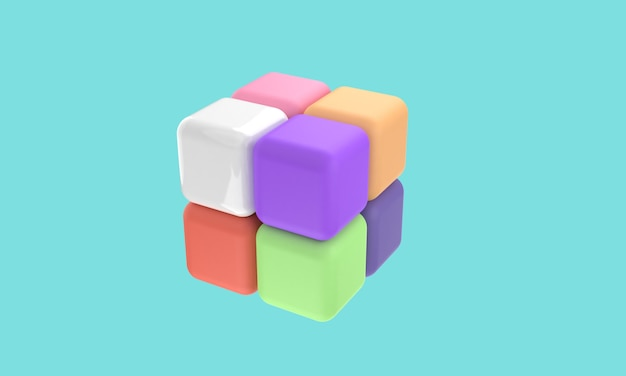 3d icons rubik  2 x 2 with different color shapes