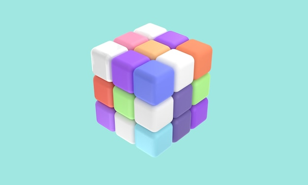 3d icons rubik 3 x 3 with different color shapes