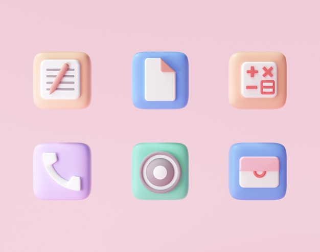 3d icons set of smartphone, minimal app icons. 3d rendering