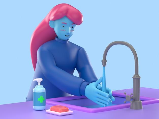 図3dは、コロナウイルスncovまたはcovid-19によるクレンジングの手を消毒するために石鹸とアルコールゲルを使用している感染症を避ける若い漫画の女性を示しています。