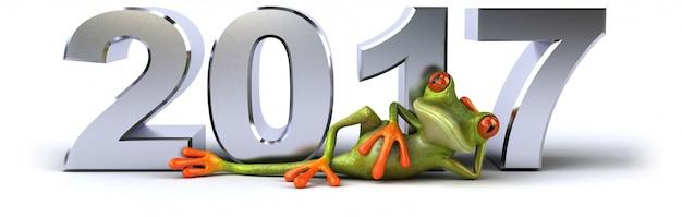 3d иллюстрированный лягушка сидит возле объемных чисел