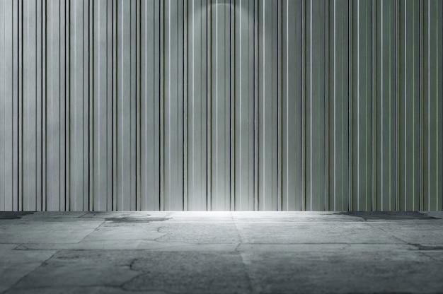 3d 그림입니다. 3d 그림입니다. 아연 도금된 강철 벽과 콘크리트 바닥이 있는 추상 산업 인테리어