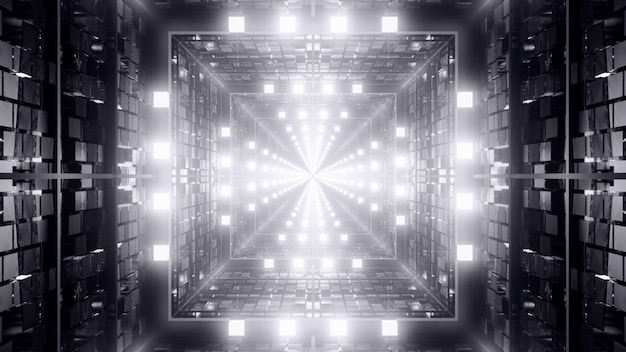 3d illustration of 4k uhd abstract background of black and white endless futuristic corridor in shape of square with vibrant neon light