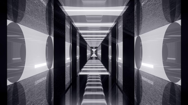 3d illustration of 4k uhd abstract background of black and white geometric tunnel in style of japanese flag