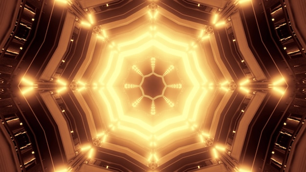 3d illustration of 4k uhd abstract background of bright geometric tunnel with sepia glowing light Premium Photo
