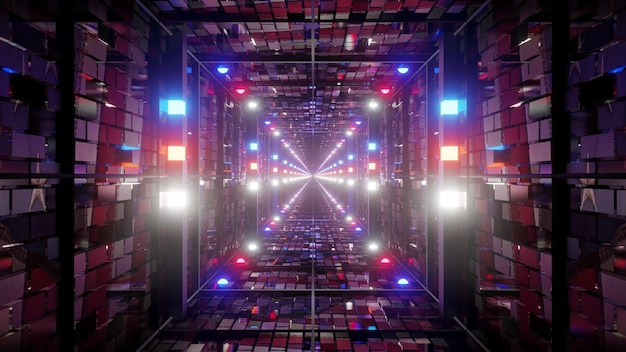 3d illustration of 4k uhd abstract background of bright square shaped corridor designed in style of american flag with glowing red and blue lights