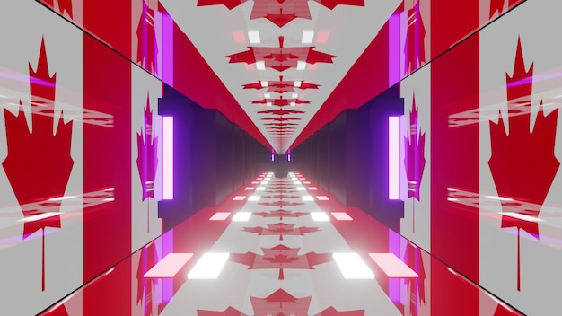 3d illustration of 4k uhd abstract background of bright tunnel designed in style of canadian flag with neon illumination