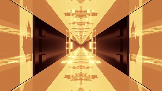 3d illustration of 4k uhd abstract background of corridor designed in style of canadian flag illumined by sepia light